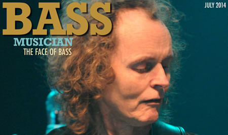 partial Bass Musicians Magazine cover photo of Mark Egan